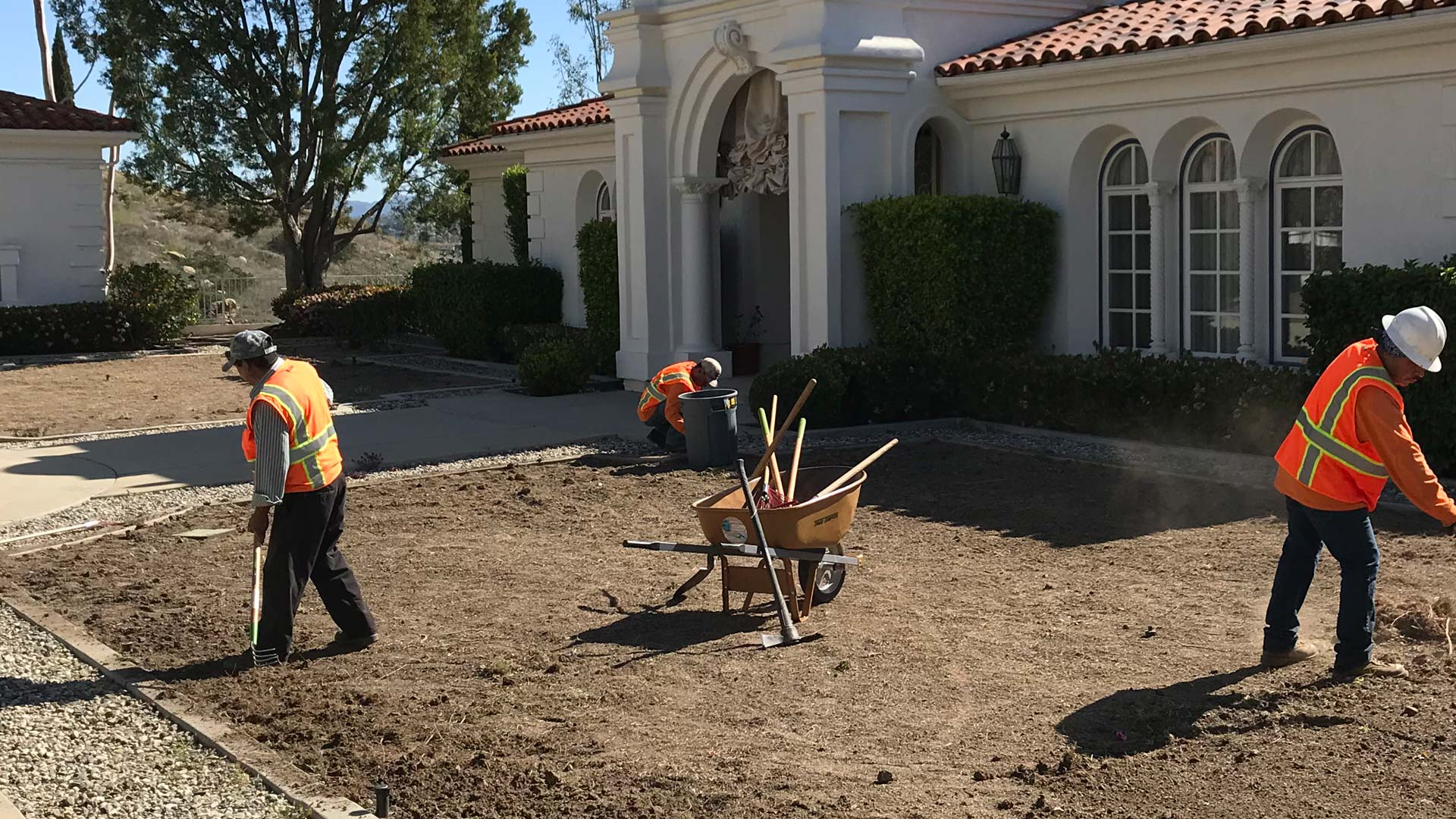 Crew working on a landscaping job in Carlsbad, CA.