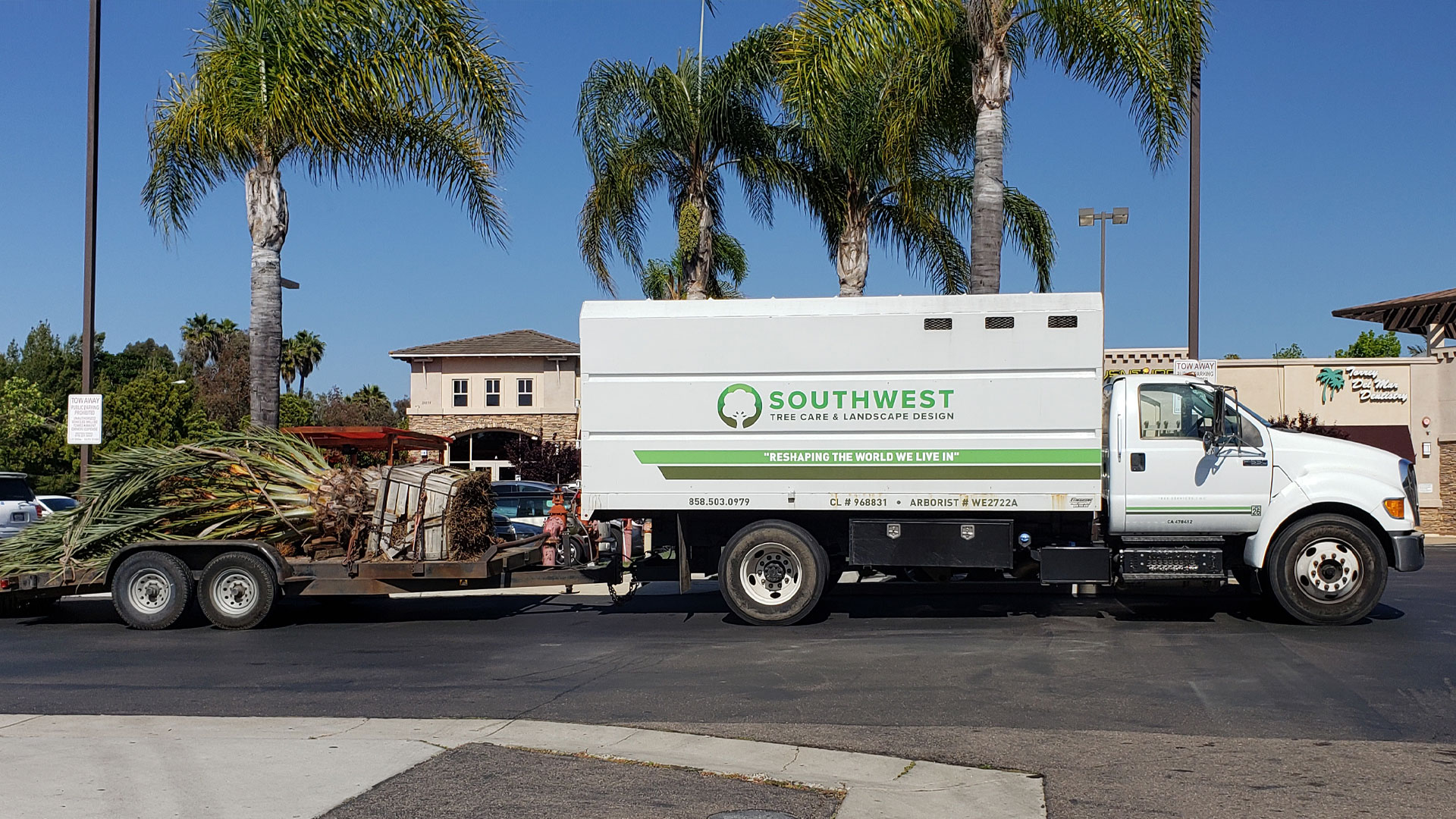 Work landscaping truck on a job site in Rancho Santa Fe.