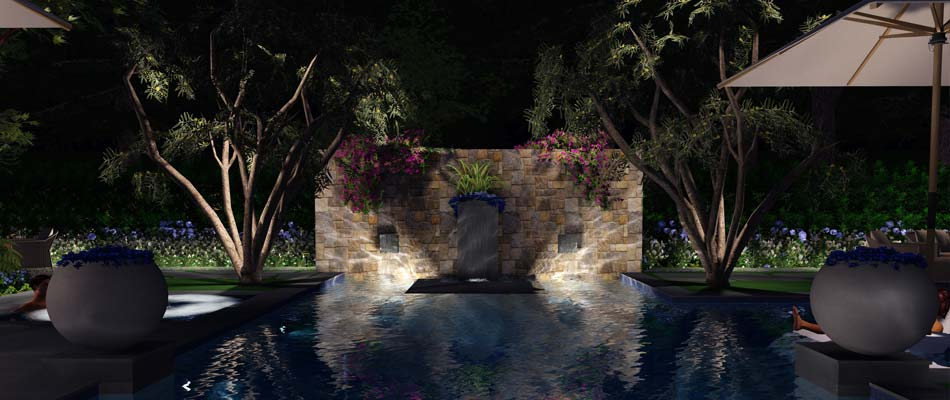 A pool with a hardscape wall fountain, new landscaping, and landscape lighting for a property in Encinitas.
