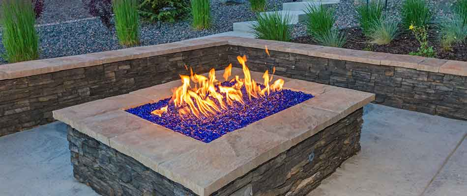 A custom fire pit installed at a property in Encinitas, CA.