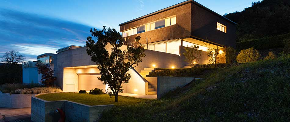 This home in Carlsbad is illuminated by LED outdoor lighting.