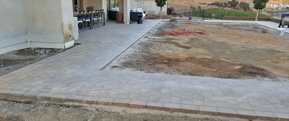 Paver patio installed  at a home in Rancho Santa Fe, CA.