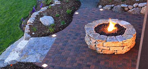 Custom fire pit construction at a Carlsbad, CA property.
